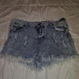Forever21+ Destructed Denim Short Shorts